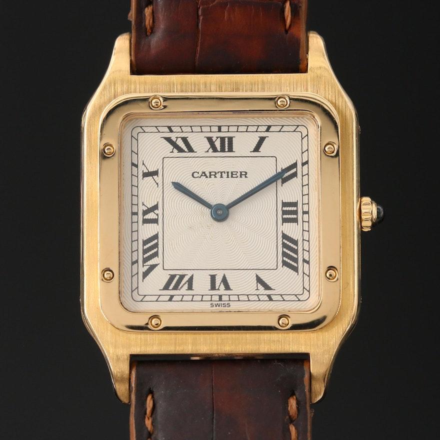 Cartier Santos Dumont Ultra Thin 18K Gold Stem Wind Wristwatch