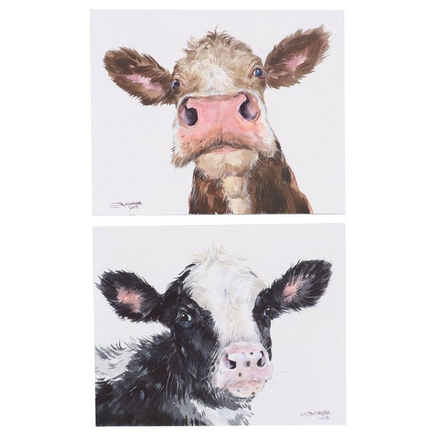 Ganna Melnychenko Watercolor Paintings of Cows, 2019