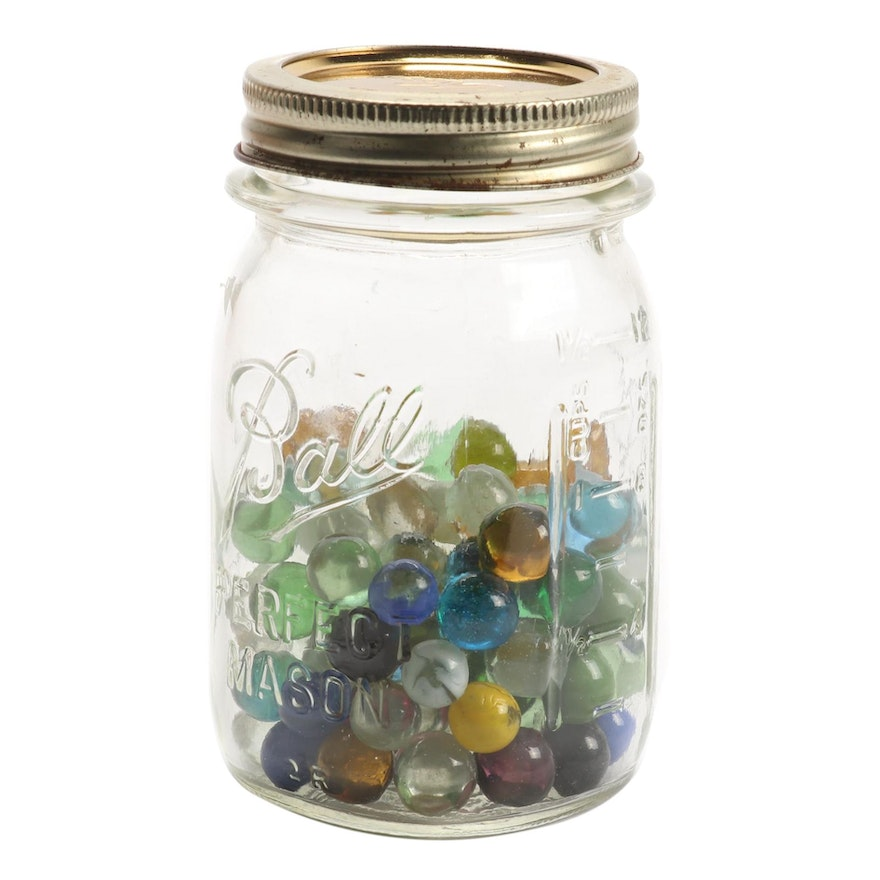 Opaque and Clear Glass Marbles in Ball Glass Jar, Vintage