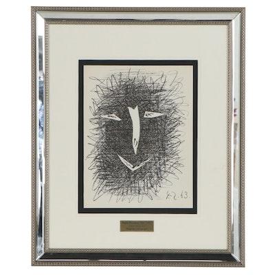 """Pablo Picasso Transfer Lithograph """"Deux Masques,"""" 1964"""