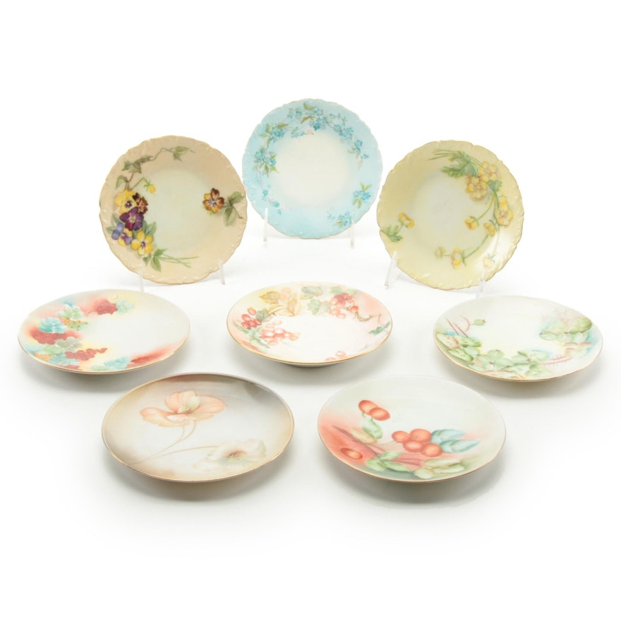 Continental Fruit and Floral Motif Porcelain Bread and Butter Plates