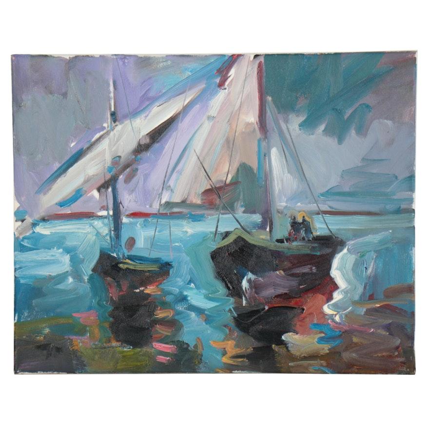 "Jose Trujillo Oil Painting ""Sailing,"" 2019"