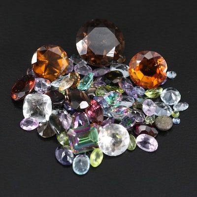 Loose 78.60 CTW Gemstones with Black Star Sapphire, Smoky Quartz, Peridot