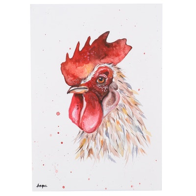 "Anne ""Angor"" Gorywine Watercolor Painting of Rooster, 2019"