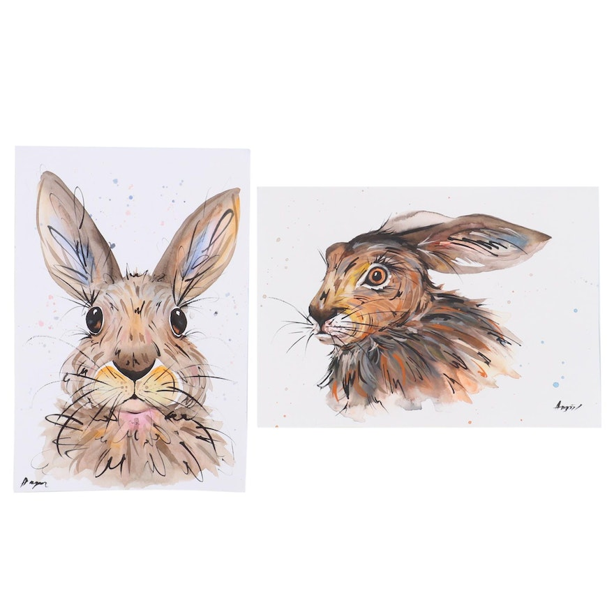 """Anne """"Angor"""" Gorywine Watercolor Painting of Rabbits, 2020"""