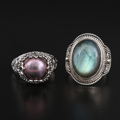 Sterling Silver Labradorite and Pearl Rings