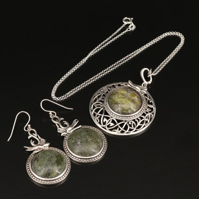 Sterling Silver Serpentine Swallow Pendant Necklace and Earring Set