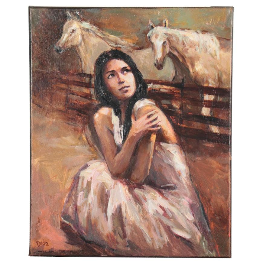 """Adam Deda Figural Oil Painting """"The Secret"""""""