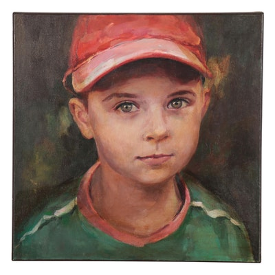 "Adam Deda Realist Portrait Oil Painting ""Boy in a Red Cap,"" 2001"