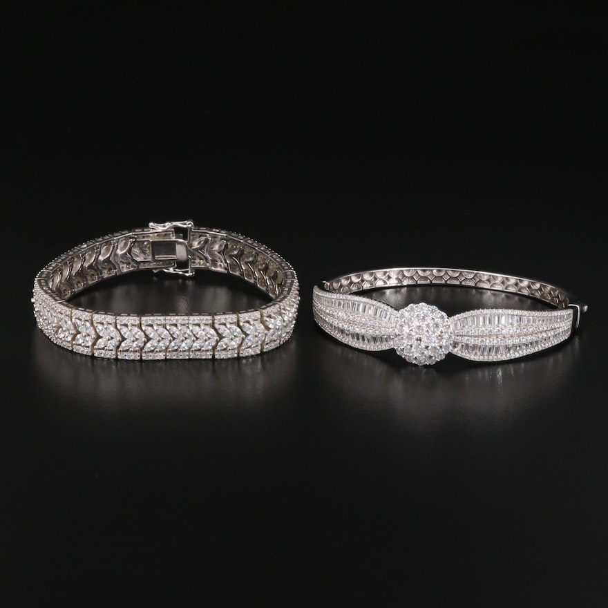 Sterling Silver Cubic Zirconia Link Bracelet and Hinged Bangle