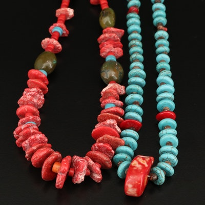 Turquoise, Coral and Serpentine Beaded Necklaces