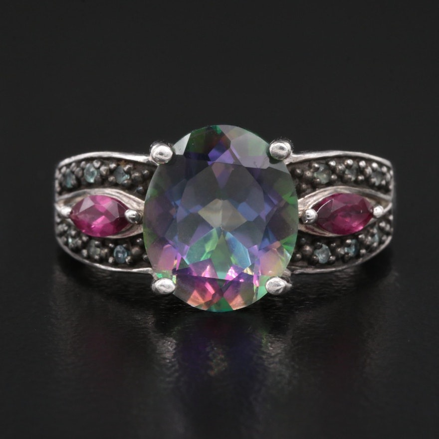 Sterling Silver Mystic Topaz and Garnet Ring