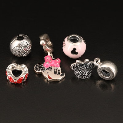 Pandora for Disney Parks Sterling Charm Pendants with Enamel and Cubic Zirconia
