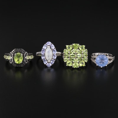 Sterling Ring Selection Featuring Peridot, Moonstone, Tanzanite and White Topaz