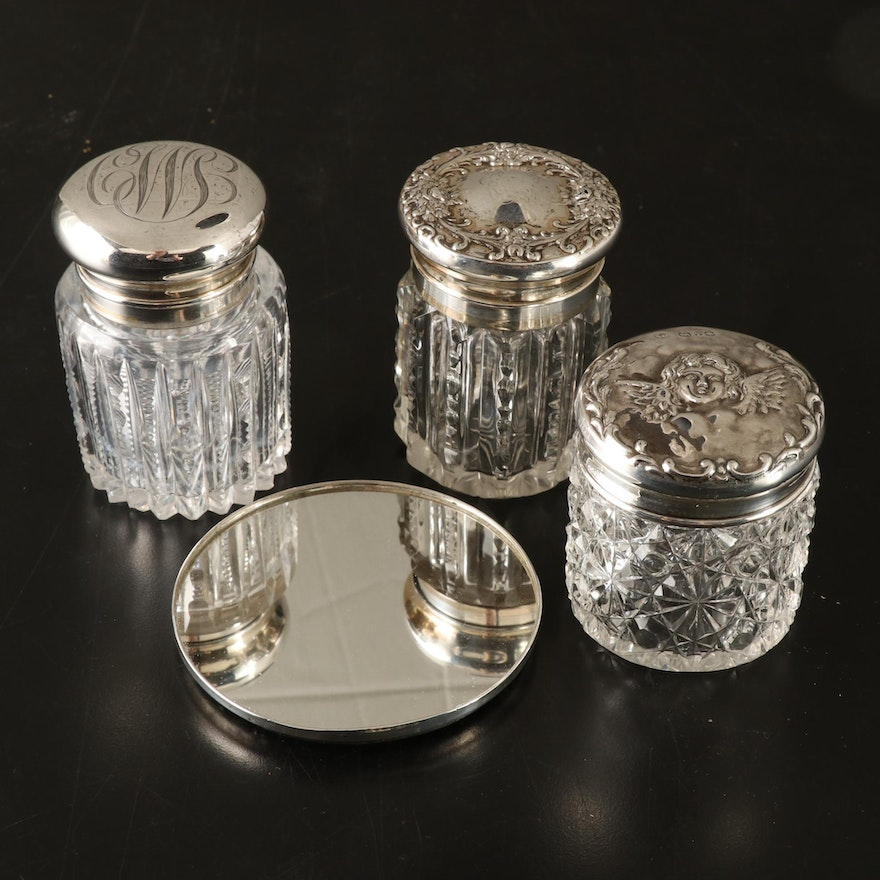 Towle Round Mirror with Other Sterling Silver and Cut Glass Vanity Jars