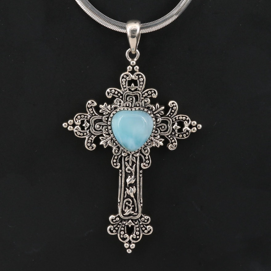 Sterling Silver Larimar Cross Pendant Necklace