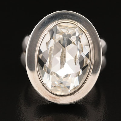 """Laurent Léger """"Imperial Moonlight"""" 950 Silver Oval Glass Ring"""