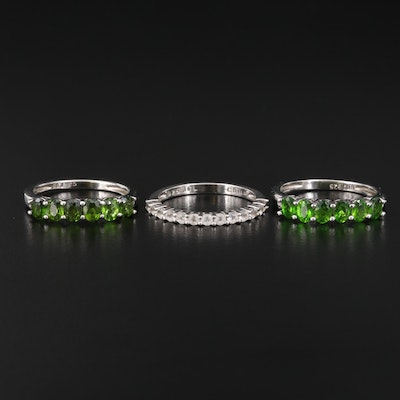 Sterling Silver Topaz and Diopside Bands