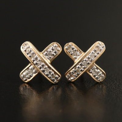 "14K Diamond ""X"" Stud Earrings"