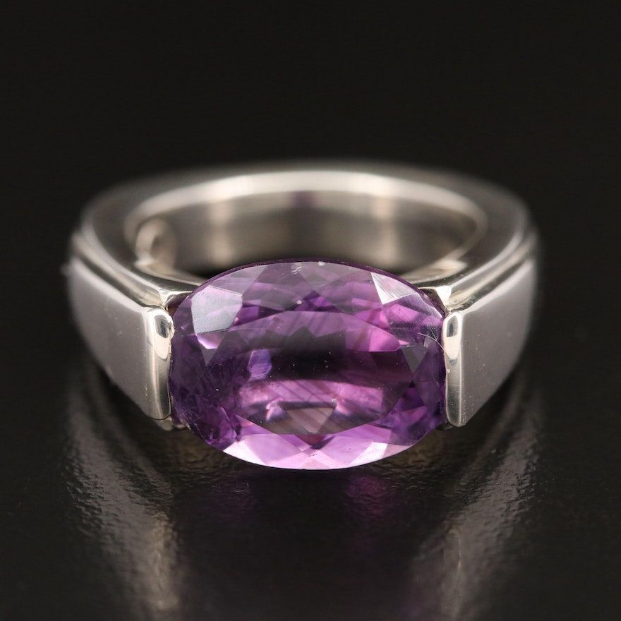 Laurent Léger 950 Silver Amethyst Arch Solitaire Ring
