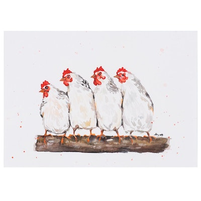 "Anne ""Angor"" Gorywine Watercolor Painting of Chickens, 2019"