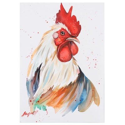 "Anne ""Angor"" Gorywine Watercolor Painting of Rooster, 2020"