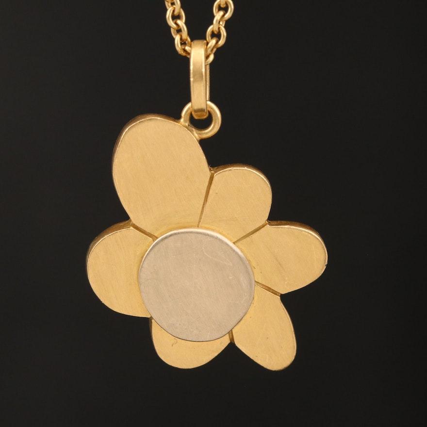 Original Denis 18K Gold Flower Necklace