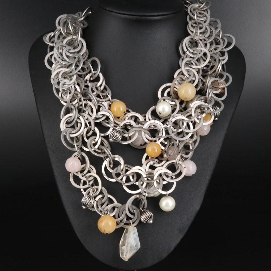 Raison d'Être Quartz and Imitation Pearl Necklace
