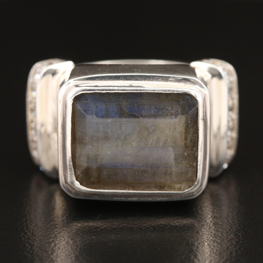Laurent Léger 950 Silver Labradorite and Cubic Zirconia Ring