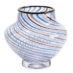 Blown Glass Footed Vase with Spiral Caning