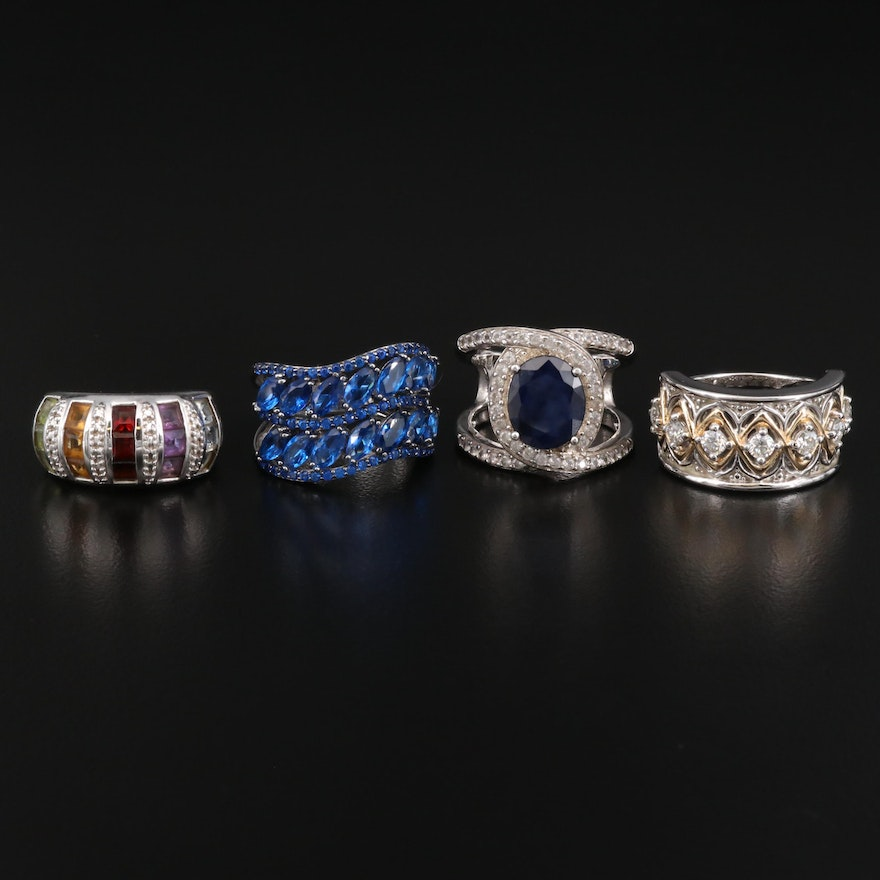 Sterling Silver Rings Featuring Moissanite, Garnet, Amethyst and Peridot