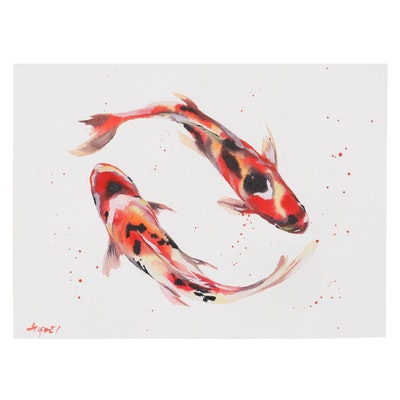 "Anne ""Angor"" Gorywine Watercolor Painting of Koi Fish, 2020"