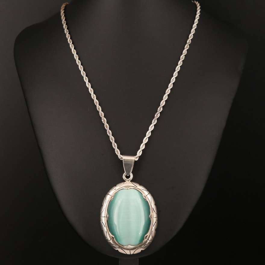 950 Silver Fiber Optic Glass Pendant on Rope Link Chain