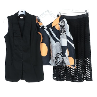 Raoul Printed Top, Weston Eyelet Skirt and Adrienne Vittadini Vest