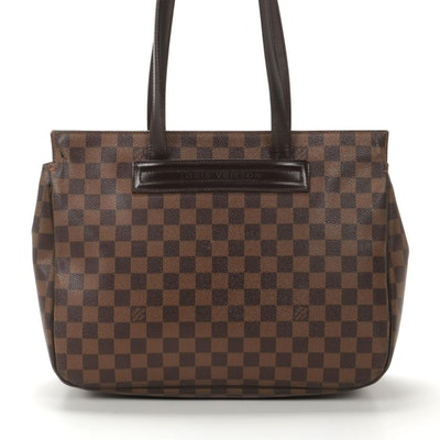 Louis Vuitton Parioli PM Tote in Damier Ebene Canvas and Leather