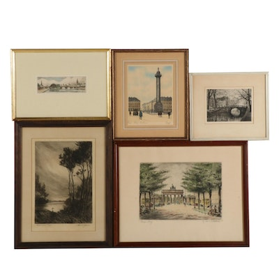 Etchings of Architecture and Landscapes, Early to Mid 20th Century