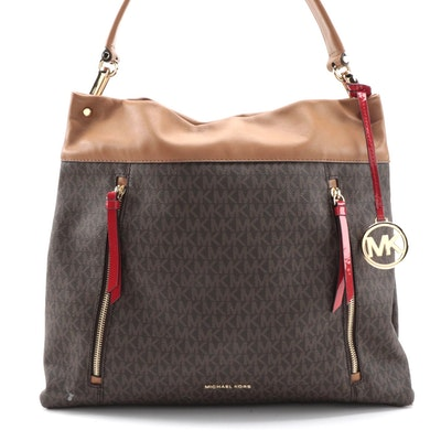 MICHAEL Michael Kors Signature Large Lex Hobo Bag in Brown/Acorn/Bright Red