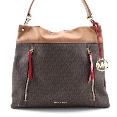 MICHAEL Michael Kors Signature Large Lex Hobo Bag in Brown/Acorn/Bright Red