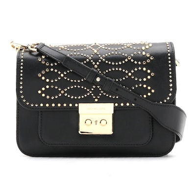 Michael Kors Studded Sloan Shoulder Bag in Black Leather