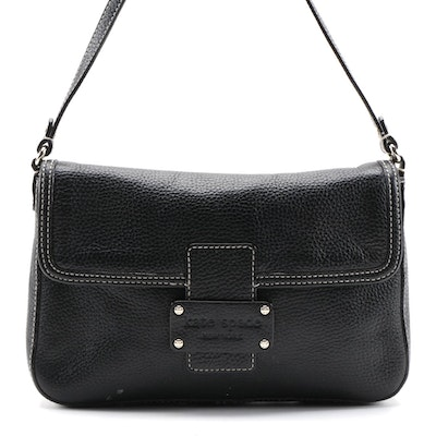 Kate Spade New York Flap Front Shoulder Bag in Black Grained Leather