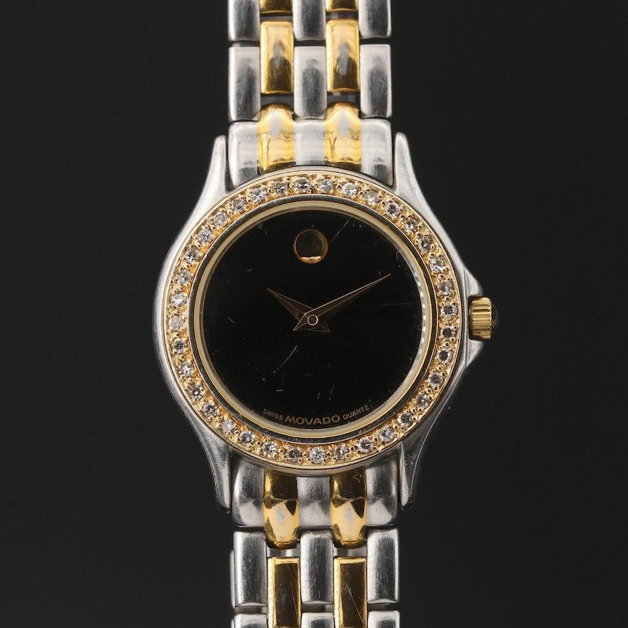 Movado Museum Two Tone Diamond Wristwatch