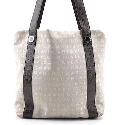 Bulgari Tote in Monogram Canvas and Grained Leather