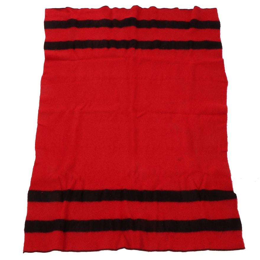 """Shuler & Benninghofen Red and Black """"Mariposa"""" Wool Blanket"""