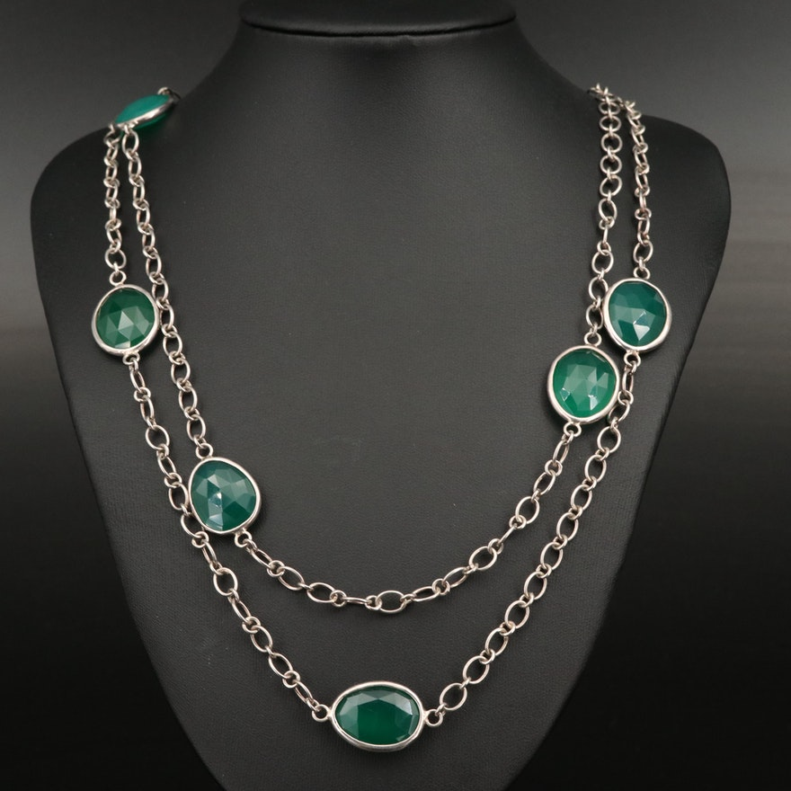 Laurent Leger 950 Silver Chalcedony Station Necklace