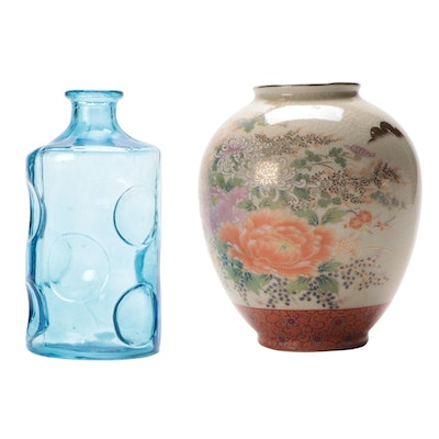Japanese Satsuma Porcelain Vase with Blue Concave Glass Bottle