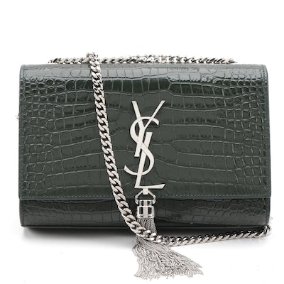 Yves Saint Laurent Kate Medium Tassel Crossbody Clutch in Croc-Embossed Leather