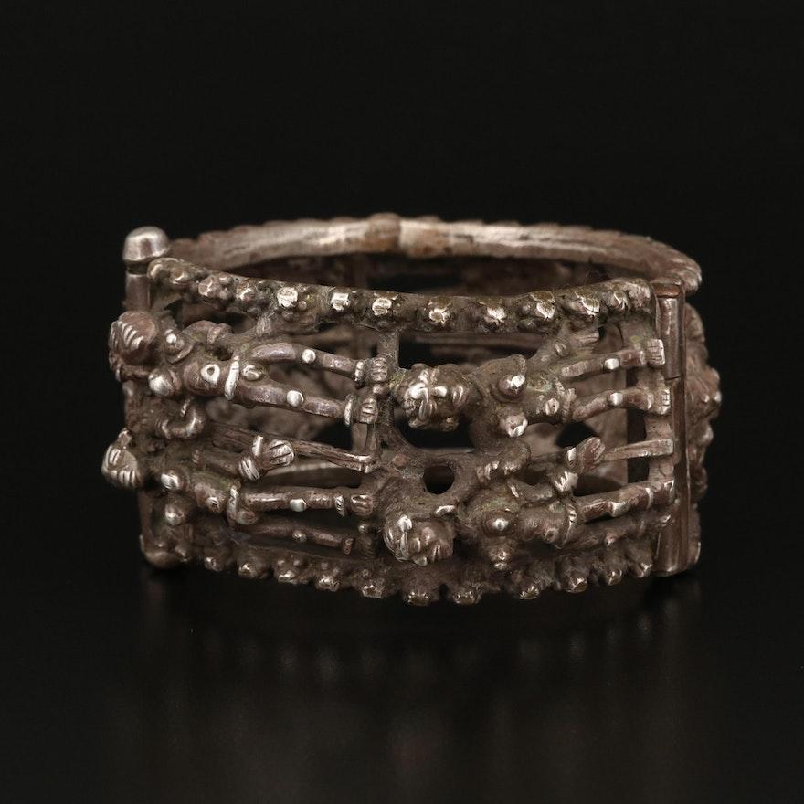 Antique Sterling Eight Wives of Krishna Hinged Bracelet