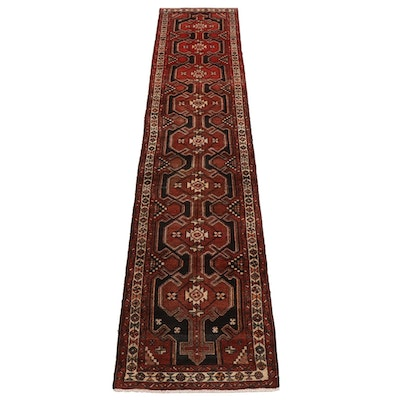 2'7 x 12'10 Hand-Knotted Persian Hamadan Village Carpet Runner
