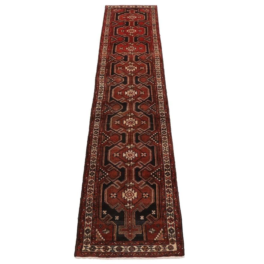 2'7 x 12'10 Hand-Knotted Persian Hamadan Village Carpet Runner