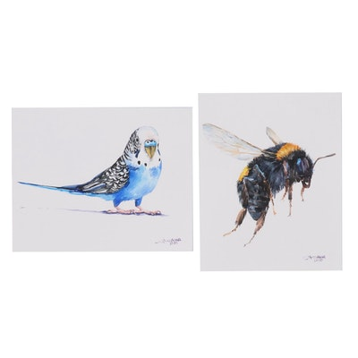 Ganna Melnychenko Watercolor Painting of Budgerigar and Bumblebee, 2020